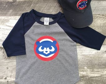 Boys Unisex Chicago Cubs Cubbies Bear Baseball T 3/4 Sleeve T Shirt Navy Blue Gray modern graphic trendy