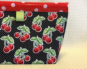 Juicy Cherry Oilcloth Snappy Pouch - Four Sizes