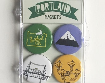 Portland Themed Magnet Set of 4