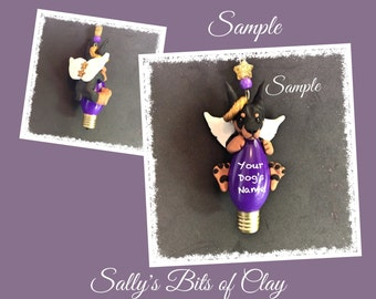 Black & Tan Doberman Pinscher Angel Dog cropped ears Christmas Light Bulb Ornament Sally's Bits of Clay PERSONALIZED FREE with dog's name
