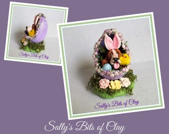 READY to SHIP! One of a Kind Basset Hound dog Easter Bunny in Egg sculpture by Sally's Bits of Clay
