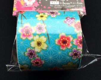 Japanese Fabric Tape - Cherry Blossom Tape - Light Blue Pink Gold