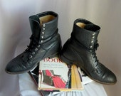 Men's size 10 D Leather Ankle Boots / Black High Top JUSTIN Oxfords / sz Eu 43 UK 9  / Womens 11.5 wide Granny Lace Up / Buffalo Hide