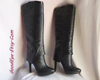 NINE WEST High Heel PLATFORM Boots / size 7 .5 Eu 38 Uk 5 / Black Leather Mock Cuff / Slouchy Pirate Stiletto