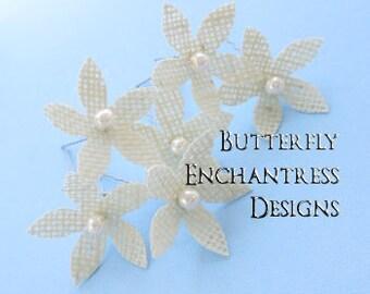 Rustic Wedding Hair Accessories, Bridal Hair Flowers,  - 6 Champagne Beige Burlap Stephanotis Hair Pins - Pearls