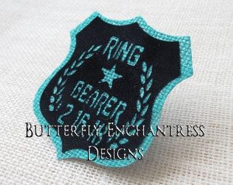 Ring Bearer Security Badge Gift - Boutonniere Lapel Pin - Rustic Burlap Aqua Turquoise Wedding - Personalized Custom Wedding Date - BE Lapel