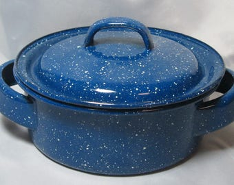 Graniteware Suger Bowl Covered Candy