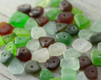 Bulk sea glass  - Drilled sea glass - Sea glass crafts - Beach glass jewelry making -  Sea glass Charms - Jewelry making - Gift beach lover