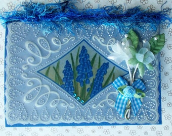Flower PaperLace Birthday Greetings Card - Victorian Style Paper-Pricked Border