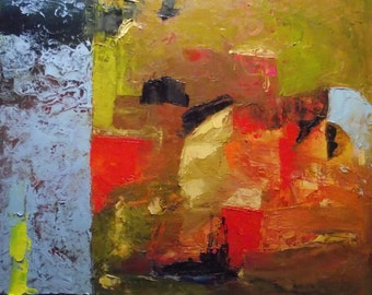 Abstract painting, small original oil, light blue, bright red, brick red, golden green, ochre, yellow, 10 x 12 inches