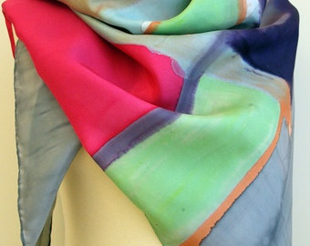 Silk scarf Handpainted - 43.3x43.3in. (110x110cm) Hand Painted square Silk Scarf -Mondrian Style -Woman scarf- Giveaways -Gifts for her
