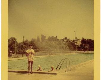 vintage photo 1952 Color Snapshot Square Kodacolor Pool Guy & Gals