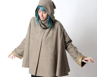 Brown hooded cape, Brown chevron wool hooded cape, Womens hooded cape coat with sleeves, Brown winter cape, Womens winter clothing, MALAM