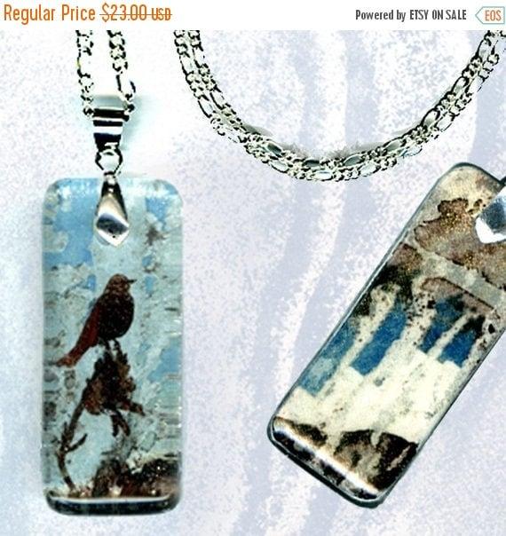 Robins Egg Blue Bird Necklace - GeoForms Reversible Glass Art