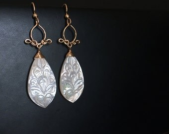 Luna - Mother of Pearl Long 14k Gold Filled Earrings