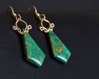Celine - Azurite and 14k Gold Filled Earrings