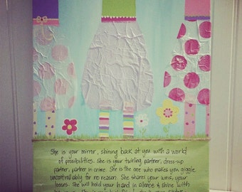 Hand-painted 16x20 Personalized CUSTOM Sisters Canvas