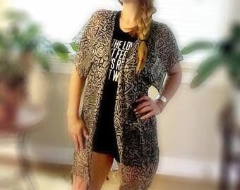 Cassidy Kimono Jacket - Black and White Geo Tribal