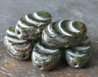Fern Green Mix Mercury Cocoon Czech Glass 13mm Bead : 10 pc 13mm Green Cocoon Bead