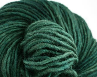 Brunswick Hand Dyed chunky weight 70/30 Corriedale wool Mohair blend yarn 140 yds 4oz Deepest Cypress