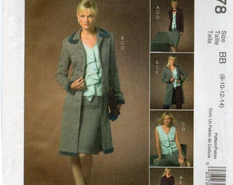 McCalls 4978 Misses Lined Jacket In Two Lengths,Top,Skirt And Pants Uncut Pattern Size 8-10-12-14 Copyright 2005