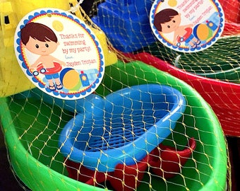 Pool Party Favor Tags or Stickers for Boys / Choose Hair and Skin Color / Personalized with Name / Swimming Party Favor Tags / Set of 12