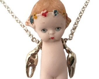 Doll Necklace with claw arms      bisque baby ooak crab jewelry