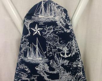NAVY NAUTICAL SHIPS ironing board cover, white naval blueprint fabric , nautical, beach,  wedding. bridal or shower gift