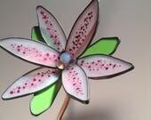 Pink, Mauve and green 3-D medium stained glass garden flower - Birthday, Gift, Anniversary, Valentine'e Day, Diane Michele Volrathg