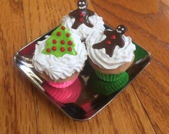 American Girl 18 Inch Doll AG Food Cupcake Holiday Christmas Set