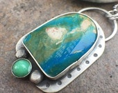 35% OFF - Chrysocolla Chryoprase Sterling Silver Necklace