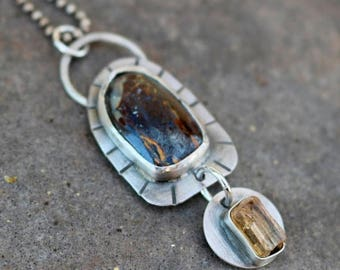 25% Off - Boulder Opal Raw Citrine Sterling Silver Necklace