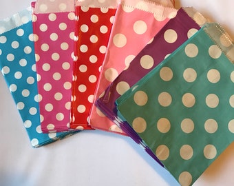 polka dot paper party favor bags set of 25 treat bags, 6x6.5 size gift bags, paper bags, party bags in blue, aqua, pink, magenta
