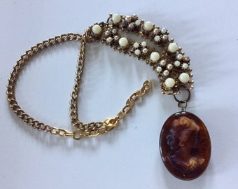 Vintage Bakelite Cameo Pendant, Estate Jewelry Statement Necklace Unique Up-Cycled OOAK Estate Piece