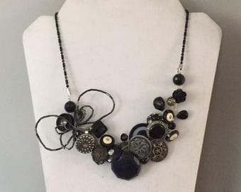 Vintage Buttons Rinestone Steampunk Collage Goth Necklace