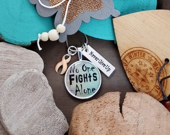 PE-2 Endometrial Cancer Necklace Uterine Cancer Jewelry Awareness Jewelry Gift For Her No One Fights Alone Necklace