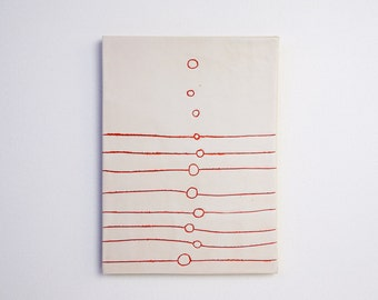 Modern Circle Red Home Decor trivet wall plaque abstract Art Clay Wall Hanging White Abstract Ceramic Simple Decoration Porcelain Clay Tile