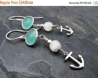 nautical earrings, dangle earrings, drop earrings, mermaid earrings, sea glass earrings, beach earrings, beach wedding, anchor earrings
