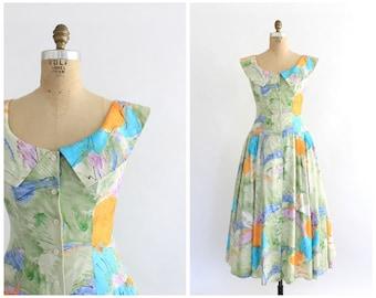 vintage 1980s pastel print boat neck sundress   80s cotton sundress   vtg abstract print dress   small