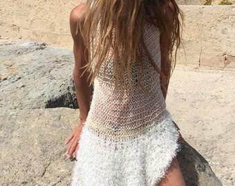 Blush pink white dress, faux fur, net dress, loose knit, cover up, beach dress, wedding dress
