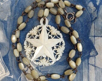 Vintage Mother of Pearl Rosary Chain Necklace Star of Bethlehem Pendant