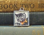 Gray Tabby Kitten Pendant - Grey Kitten Charm - Soldered Stained Glass Style Pendant - Vintage Book Illustration - Gray Tabby Cat Jewelry