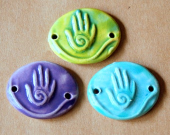 3 Handmade Ceramic Beads - Sweet Set of Hamsa Link Beads - Mystical Connectors in Spring Colors - Charms for Hemp Bracelets - Boho Style