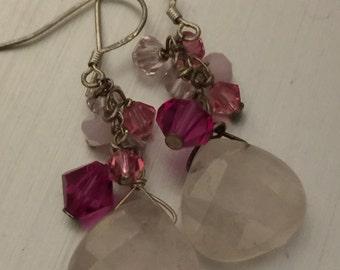 Rose Quartz Pink Cluster Earrings