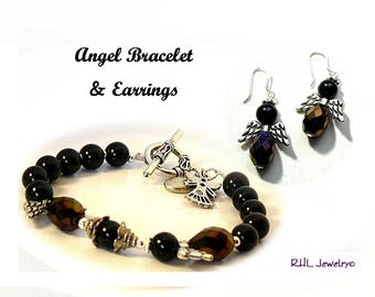 Matching Jewelry, Black Angel Bracelet and Earrings Set, Beaded Angel Jewelry, Black Bracelets, Angel Gifts - B2013-06 E13-04