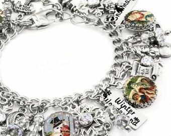 Frosty the Snowman Jewelry, Silver Charm Bracelet, Christmas Jewelry, Snowman Charm Bracelet, Holiday Jewelry, Christmas Charm Bracelet
