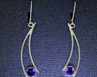 GemDrops Amethyst Earrings, Sterling silver and genuine amethyst, eco-friendly recycled silver earrings