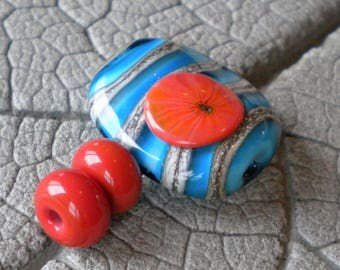 Southwest Focal Lampwork Beads by Cherie Sra R114 Flamework Glass Bead Turquoise Encased Silvered Ivory Stringer Murrini Coral Turquoise