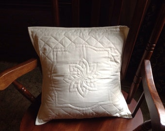 "hand quilted whole cloth pillow cover 18"" handmade cream envelope back"