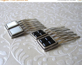 20% SALE Black Glass and White Mother of Pearl Shell Hair Comb Set of 2 Vintage Napier Jewelry Hairpiece Jeweled Hairpin Ornament Bohemian C